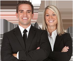 Portrait of a happy business couple.